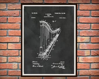 Patent 1901 Harp - Art Print - Poster - Musical Instrument - String Instrument - School Music Room Art - Orchestra Wall Art