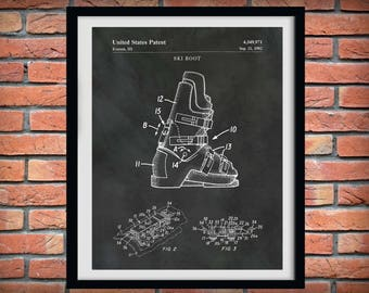 1982 Ski Boot Patent Print  -  Winter Sports Decor - Snow Skier Gift - Ski Resort Decor - Ski Poster - Skier Boots