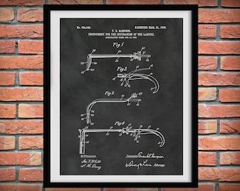 1903 Laryngoscope Patent Print, Intubation Instrument Patent Print, Intubation of the Larynx Blueprint, Paramedic Decor, ED Doctor Gift