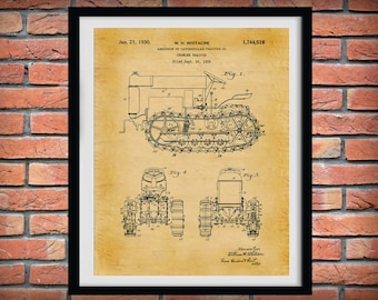 1925 Caterpillar Crawler Tractor Patent Print - Agriculture Poster - Tractor - Farming - Farm Equipment Patent - Farmhouse Decor -