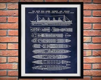 R.M.S. Titanic Poster - Titanic Ship - Titanic Poster - Titanic Blueprint - White Star Lines - Titanic Decor - Unsinkable Titanic