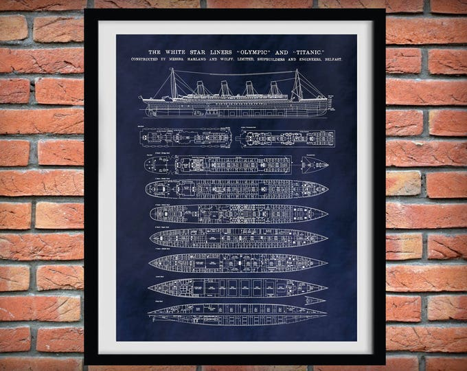 Featured listing image: R.M.S. Titanic Poster - Titanic Ship - Titanic Poster - Titanic Blueprint - White Star Lines - Titanic Decor - Unsinkable Titanic