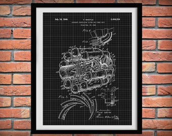 1946 Jet Engine Patent Print - Poster - Aviation Decor - Pilot Art - Aviator School Art - Aircraft Propulsion System Patent