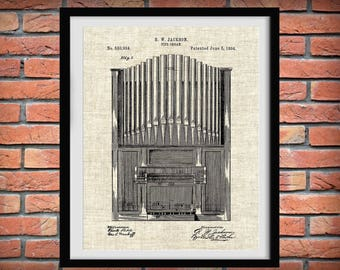 1894 Pipe Organ Patent Print  - Church Organ -  Church Decor - Music Room Art - Choir Organ - Pianist Gift - Organist Gift