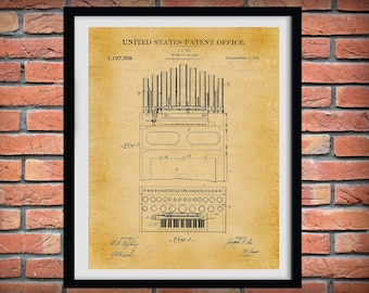 1916 Calliope Patent Print - Steam Pipe Organ Poster, Church Decor, Organist Gift, Pneumatic Calliope - Steam Calliope, Pipe Organ Blueprint