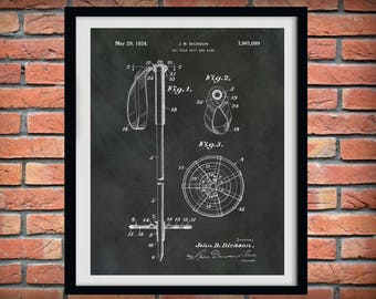 1934 Ski Pole Patent Print  - Ski Pole Grip and Ring - Winter Sports Decor - Snow Skier Gift - Ski Resort Decor - Snow Boarder Gift