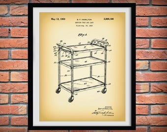 1959 Cosco Tray Cart Patent Print - Retro Kitchen Decor - Poster - Household Decor - Cosco Stylaire Cart - Coffee Cart - Tea Cart