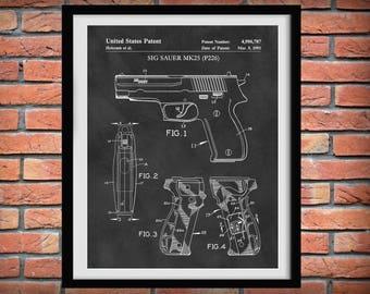 1991 Sig Sauer MK25 Patent Print - Sig Sauer P226 Pistol - Poster -  Fire Arm Decor - Military Weapon - Wall Art - Automatic Hand Gun