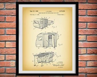 1966 Camper Trailer Patent Print - Camping Decor - Poster - Camper Patent Print - Outdoors Decor - Camping Gift - Happy Camper Gift