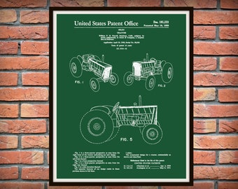 1959 John Deere Tractor Patent Print - Tractor Art Print - Tractor Poster - Agriculture Art - Farmhouse Decor - Farm Tractor Print