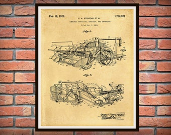 1929 Combine Harvester Thrasher Patent Print - Agriculture Wall Art - Tractor - Farming Wall Art - Farm Equipment Patent - Farmhouse Decor