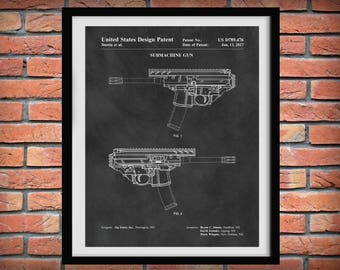 2017 Sig Sauer Sub-machine Gun Patent Print - Rifle Poster -  Weapon - Gun Enthusiast Gift - Semi-Automatic Assault Rifle