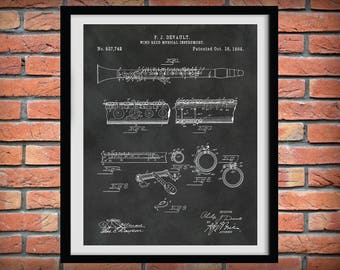 1894 Clarinet Patent Print - Musical Instrument - Wind Reed Instrument -  Music Room Art - Orchestra Wall Art - Marching Band