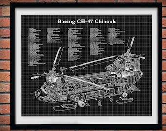Boeing Ch-47 Chinook Helicopter Print - Chinook Helicopter Blueprint - Helicopter Poster - Chopper Pilot Gift - Ch-47D Chinook Chopper Decor