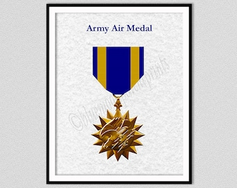 Army Air Medal Art Print, Navy Air Medal Drawing, Air Force Air Medal Blueprint, Military Air Medal, Support Our Veterans Gift Idea,