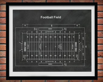 Football Field Blueprint Vers #2 - Game Room Decor - Super Bowl Gift - Football Decor - NFL Decor - Football Coach Gift - Football Fan Gift