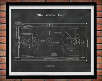 Official NBA Basketball Court Poster Print, Game Room Decor, NBA Basketball Court Blueprint, Decor, NBA Decor, Basketball Coach Gift