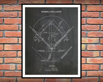 Baseball Field Diagram - Baseball Diamond Print - Baseball Player Gift - Baseball Field Layout - Baseball Coach Gift - Baseball Patent Print