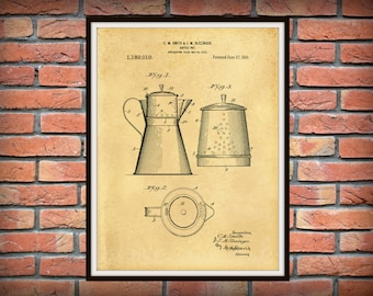 1916 Coffee Pot Patent Print - Kitchen Decor - Restaurant Decor - Coffee Shop Decor - Antique Coffee Pot Art  Print - Farmhouse Decor