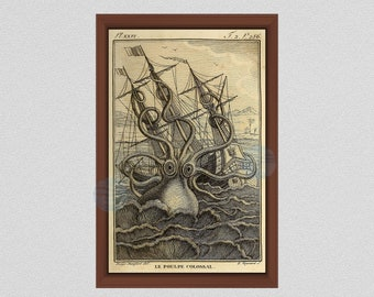 Octopus Print, Kraken Sea Monster Poster, Vintage Octopus Art, 1802 Nautical Print, Octopus Wall Art, Nautical Decor, Norse Folk Lore Art