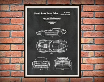 Patent 1966 Corvette - Sports Car - Poster - Wall Art - Chevrolet - Automobile Patent - Muscle Car - Home Office Garage Man Cave