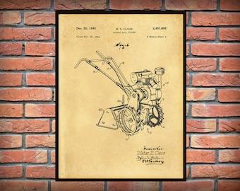 Patent 1949 Rototiller Invented by Walter Claus - Rotary Soil Tiller - Art Print - Poster - Farm Wall Art - Gardening Art - Farm Art