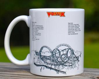 Vortex Roller Coaster MUG - Roller Coaster Geek Mug Gift Idea - Vortex Roller Coaster Pencil Holder Mug,