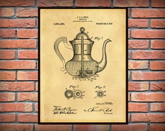 Patent 1912 Coffee Pot Percolator - Wall Art Print - Kitchen - Poster - Restaurant Wall Art - Coffee Shop Wall Art - Housewares