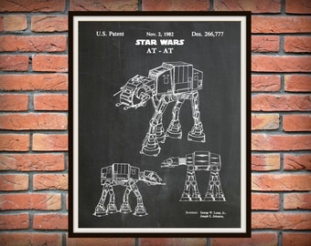 Patent 1982 Star Wars AT-AT Imperial Walker - Art Print - Poster Print - Wall Art - George Lucas - Lucas film - Battle of Jablim