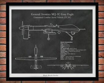 MQ-1C Gray Eagle UCAV Drone Drawing - Reconnaissance Aircraft Art Print - Military Spy Plane Blueprint- Hellfire Missiles - Combat UAV