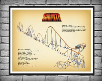 Behemoth Roller Coaster Drawing Vers #2 Colored - Canada's Wonderland Rollercoaster - Thrill Rider Gift Idea - Steel Hyper Coaster Decor