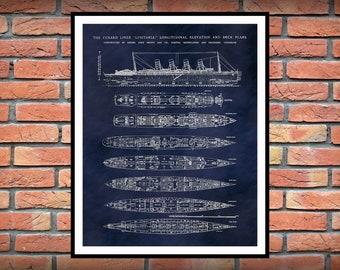 R.M.S. Lusitania Poster - Lusitania Ship Print - Lusitania Blueprint - Lusitania Deck Plans - Lusitania Art Print - Nautical Decor