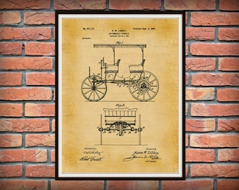 Patent 1900 Automobile Vehicle - Art Print - Wall Art - Motorized Auto - Car Patent - Surrey with Fringe on top - Horseless Carriage