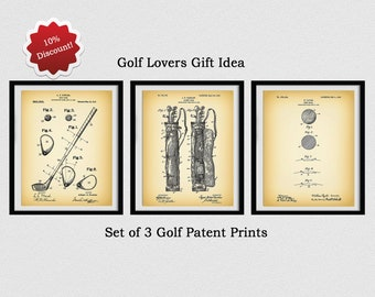 Golf Patent Prints - 1910 Golf Club - 1905 Golf Bag - 1930 Taylor Golf Ball - PGA Decor - Golf Lover Gift - Father's Day Gift