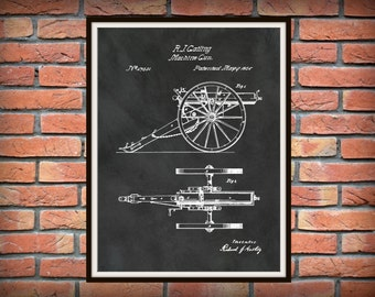 1865 Gatling Gun Patent Invented by Richard Gatling Art Print - Poster -  Fire Arm - Old West Machine Gun - Western Gun - Civil War Weapon