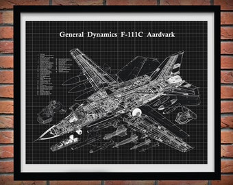 General Dynamics F-111 Aardvark Aircraft Drawing, F-111C Strategic Bomber Plane Blueprint, F-111 Fighter Plane Cutaway Drawing
