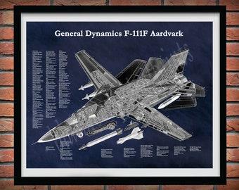 F-111F Aardvark Aircraft Drawing, General DynamicsF-111F Strategic Bomber Blueprint, F-111F Fighter Plane Cutaway Drawing