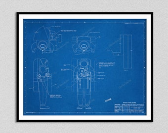 1997 NASA Space Suit Blueprint, Interface Control Drawing, ISS Orlan-M/Safer Interface, Space Suit Engineering Drawing