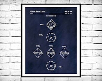 1983 Dice Patent Print - Polyhedral Dice Patent Print - Game Room Decor - Dungeons and Dragons - DnD Player - Big Bang Theory Game
