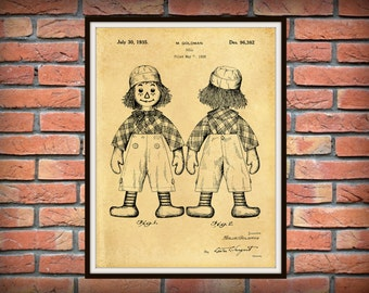 Patent 1935 Raggedy Andy Doll - Art Print Designed by Mollye Goldman -  Wall Art Childs Room Nursery Art
