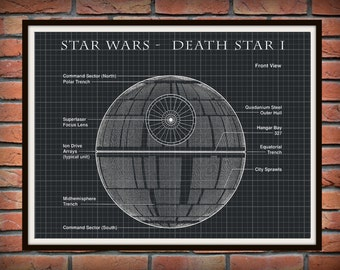 Star Wars Death Star I Patent Art Print Wall Poster - Drawing Illustration - Engineering Drawing - Schematic Drawing
