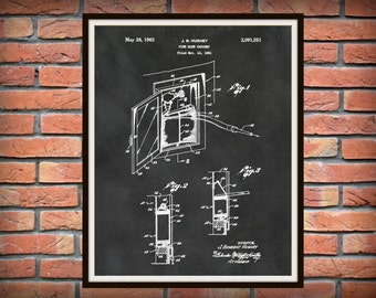 1963 Fire Hose Cabinet  Patent Print - Fireman Poster - Firehouse Decor - Firefighter Gift Idea - Fire and Rescue Art - Fire Truck Equipment