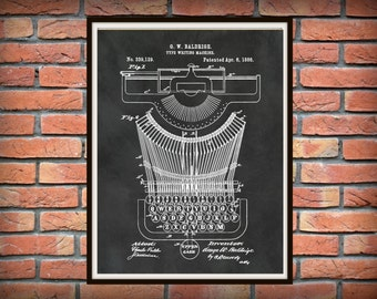 1886 Typewriter Patent Print - Typewriter Poster - Secretary Decor - Writer Gift Idea - Stenographer Print - Court Reporter Gift Idea
