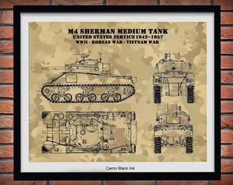 M4 Sherman Tank Poster Vers#2, World War II Sherman Medium Tank M4 Poster, Sherman M4A1 Tank Print, M4A4 Military Tank Print, Military Decor