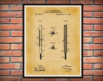 Patent 1898 Thermometer Shield - Art Print - Poster - Medical - Doctor - Doctors Office - Physician Wall Art - Nurse Art - EMT Art