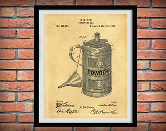 1890 Gunpowder Can Patent Print - Wall Art - Poster -  Fire Arm Gun Powder - Black Powder Canister - Musket Powder