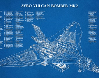 Avro Vulcan B MK2 British Bomber Plane Print - Hawker Siddeley War Plane Print - Avro Vulcan Poster - British War II Plane Decor - RAF Decor