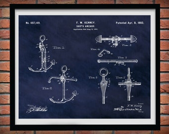 1902 Anchor Patent Print Vers #2, 1902 Anchor Poster, Boat Anchor Drawing, Ship Anchor Blueprint, Yacht Anchor, Nautical Decor