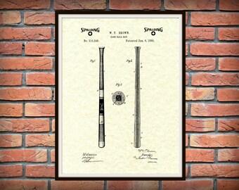 1885 Spalding Baseball Bat Patent Print - Baseball Bat Poster - Sports Wall Art - MLB Decor - Baseball Player Gift Idea - Bat Invention