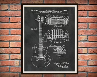 1955 Gibson Guitar Patent Print Les Paul Patent Print - Rock Band Poster - Music Room Decor - Electric Guitar Patent Print - Rock Band Decor